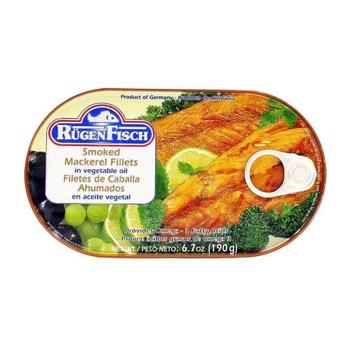 Ruegenfisch Smoked Mackerel Fillets in Vegetable Oil 190g