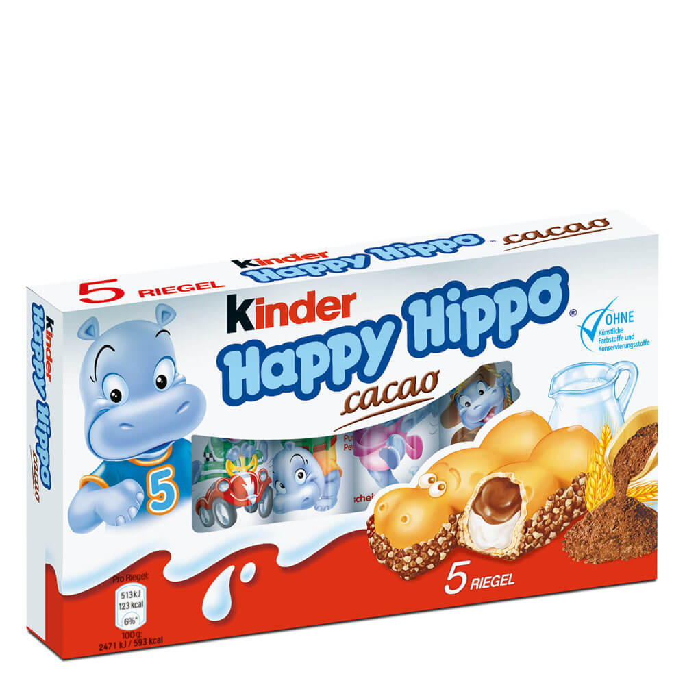 Ferrero Kinder Milk and Cacoa Happy Hippo Biscuit (Pack of 5) 103.5g