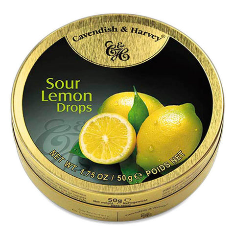 Cavendish and Harvey Small Sour Lemon Drops Tin 50g