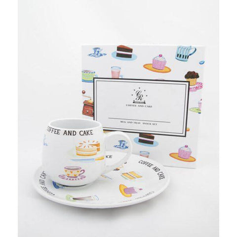 Crown Trent China Mug and Round Plate - Coffee and Cake 500g