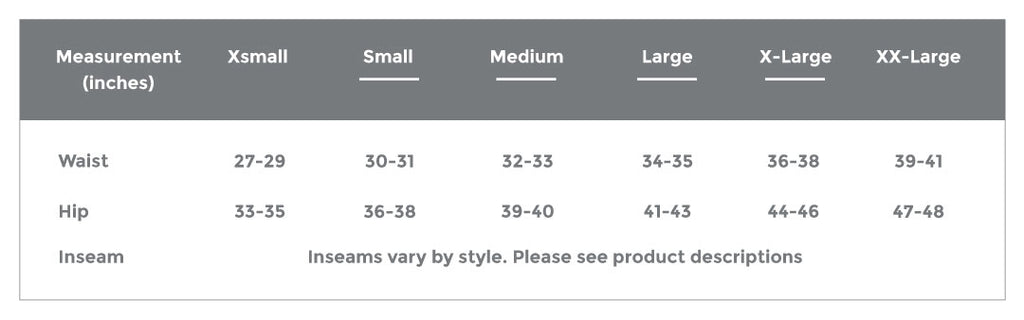 Club Ride Mountain Bike Apparel Sizing Chart