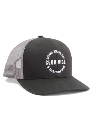 Crest Trucker Hat Accessories Club Ride Apparel Black