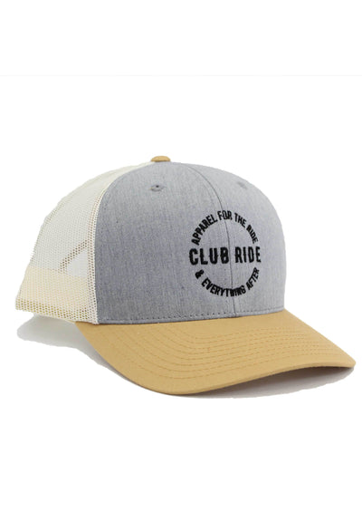 Crest Trucker Hat Accessories Club Ride Apparel Khaki