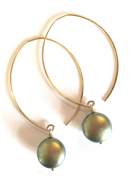 limited edition . earring . sage coin pearls