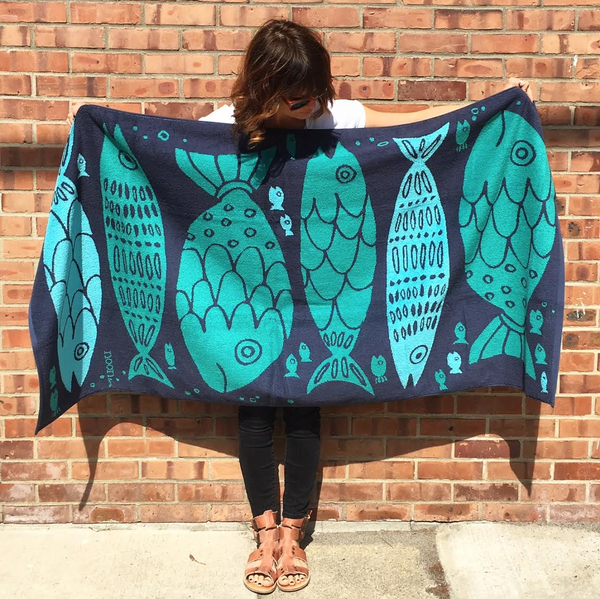 woven beach towel . fish tribe