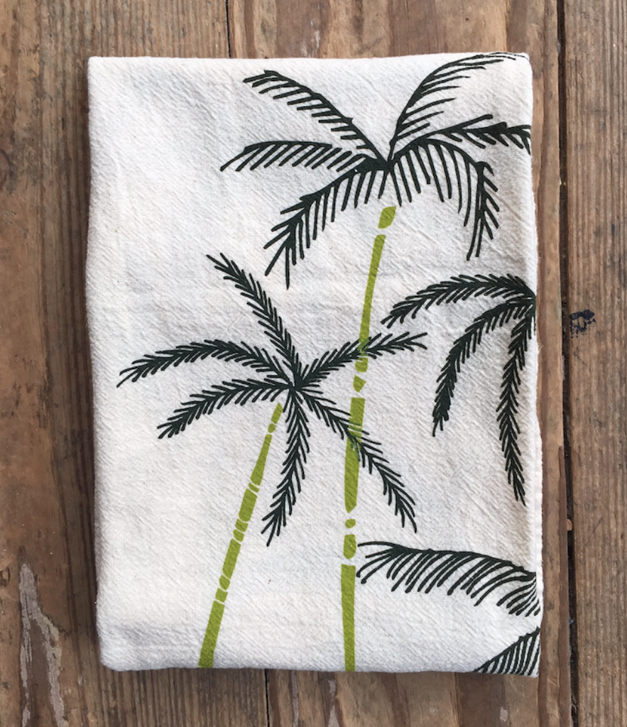 flour sack tea towel . palm trees