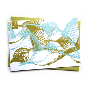 letterpress card . hummingbirds