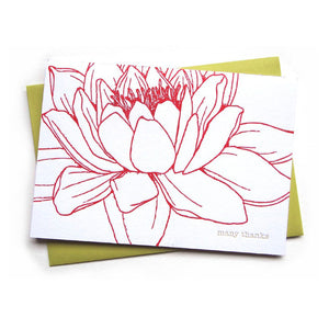 letterpress card . waterlily