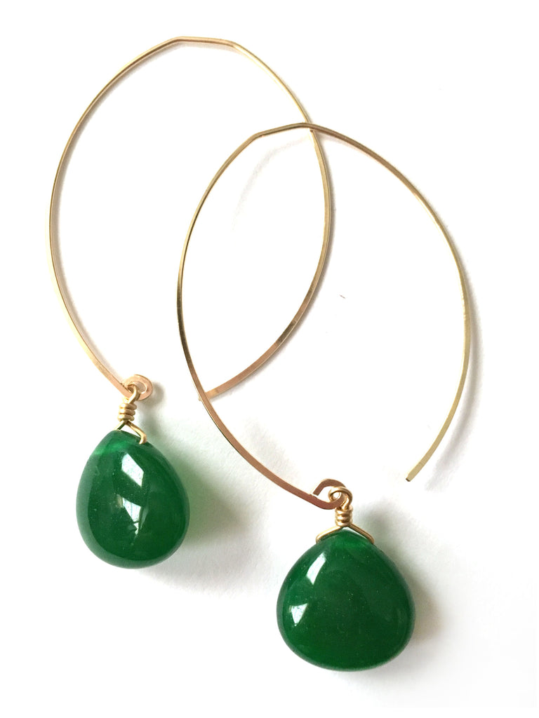 limited edition . earring . hunter green jade drops