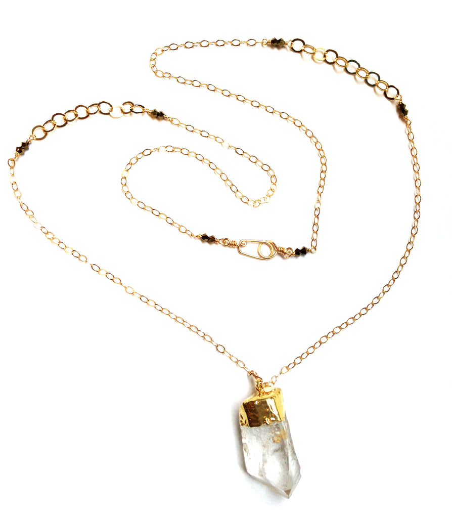 necklace   long quartz crystal