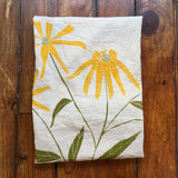 flower sack tea towel . Black eyed Susan