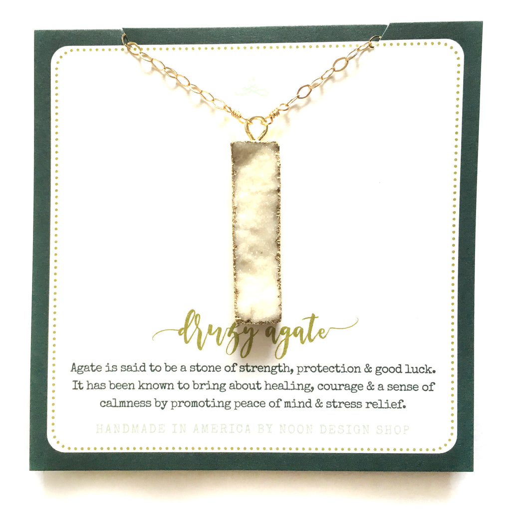 necklace . vertical dipped white druzy