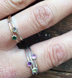 stackable ring . birthstone gems