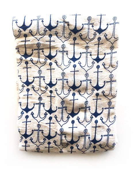 flour sack tea towel . navy anchors©