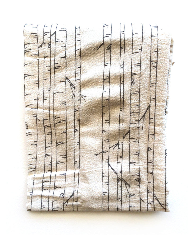 flower sack tea towel . birch trees©