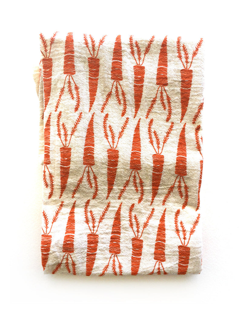 flour sack tea towel . carrots