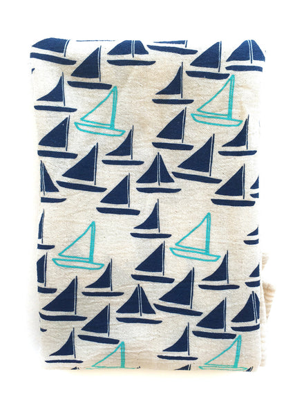 flower sack tea towel . sailboats©