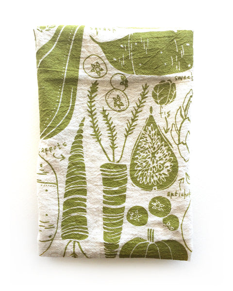 flour sack tea towel . fruit + veggies