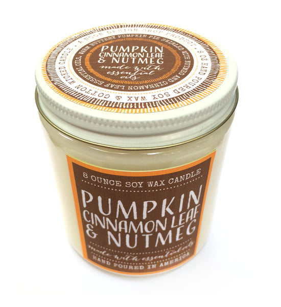 candle . seasonal soy wax . pumpkin, cinnamon leaf + nutmeg
