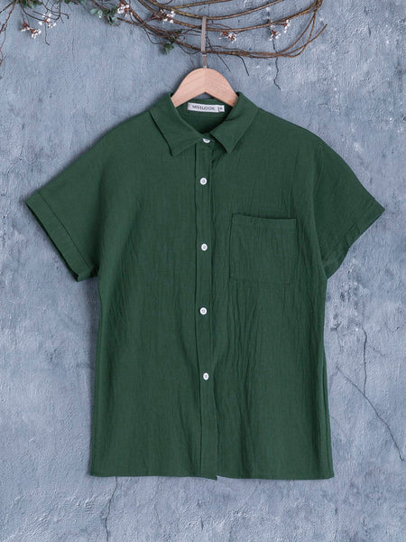 Cotton Pockets Short Sleeve Shirt Collar T-Shirts