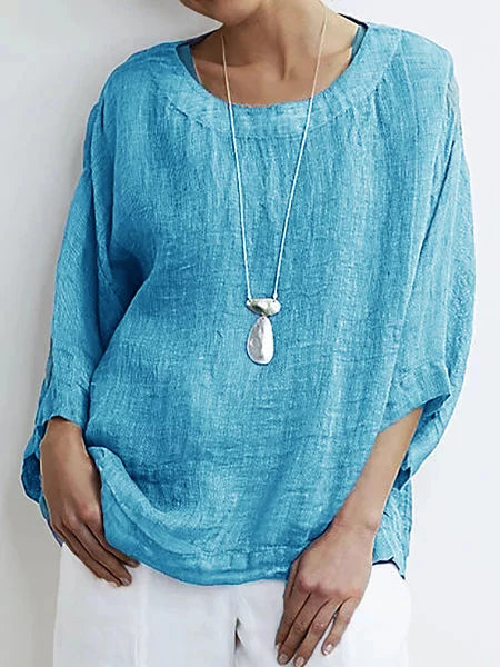 3/4 Sleeve Cotton Crew Neck Blouses & Shirts