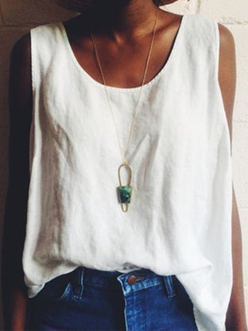Solid Boho Sleeveless T-Shirts