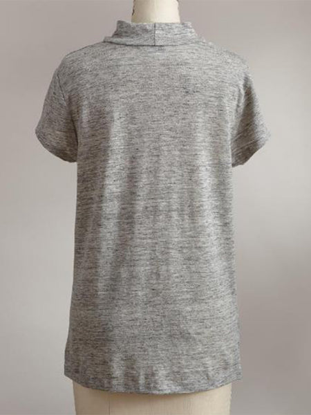 Round Neck Cotton-Blend Short Sleeve Solid T-Shirts