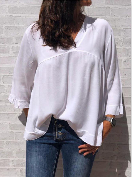 Solid Cotton V Neck Casual Blouses & Shirts