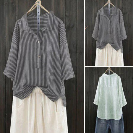 Shift 3/4 Sleeve Casual Buttoned Blouses