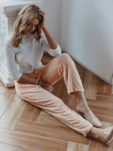 Cony Hair Casual Paneled Pants For Women