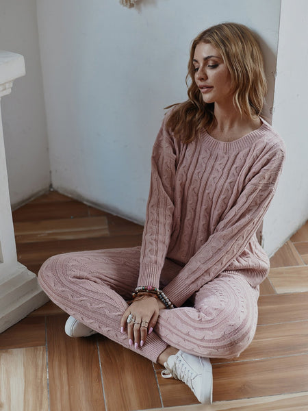 Round Neck Two Piece Casual Warm Knit Wears Sets Jumpsuits