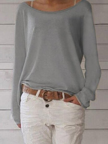 Casual Cotton Crew Neck Long Sleeve Blouses & Shirts