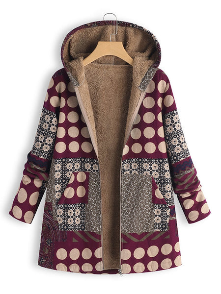 Women Polka Dot Print Patchwork Hooded Vintage Coat