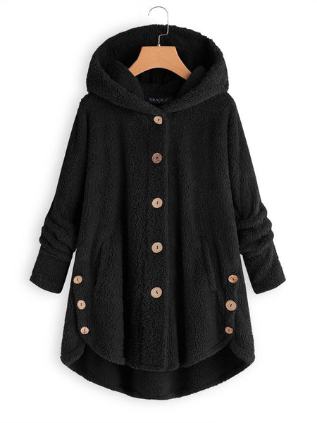 Fleece Hooded Asymmetrical Hem Button Coat