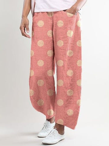 Polka Dots Cotton-Blend Casual Pants