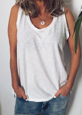 Cotton Crew Neck Sleeveless Casual Tank Top