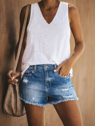 Sleeveless Casual Cotton-Blend T-Shirts