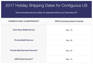 2017 Holiday Shipping Dates