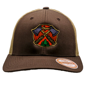 "Hat - ""U.P. AXES"" Brown/Khaki Low Profile Trucker Hat"