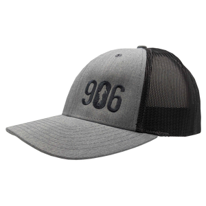 "Hat - ""906"" Heather Grey/Dark Charcoal Low Profile Trucker Hat"