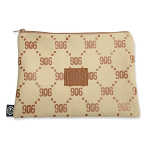 """906 Pattern"" Denim Khaki Canvas Pouch (10"" x 7"")"