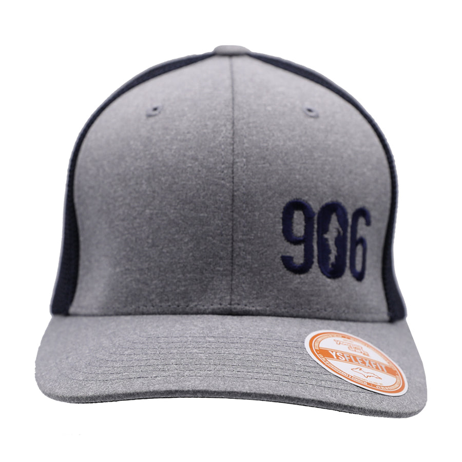 "Hat - ""906"" Heather Grey/Navy FlexFit Melange Mesh Cap"