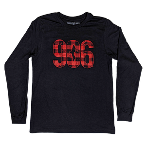 """906 PLAID"" Heather Black Longsleeve T-Shirt"