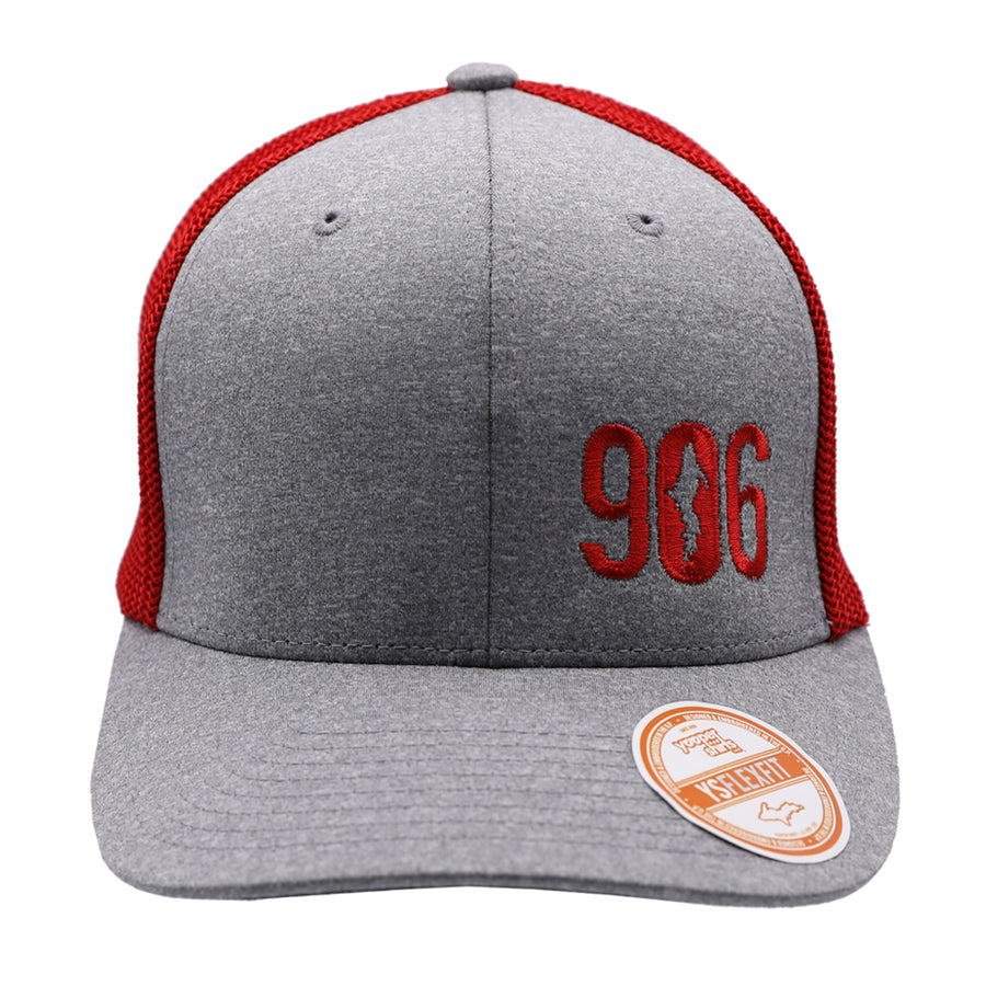 "Hat - ""906"" Heather Grey/Red FlexFit Melange Mesh Cap"