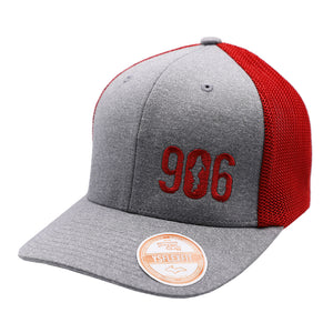 "Hat - ""906"" Heather Grey/Red FlexFit Melange Mesh Cap (ONLINE ONLY)"