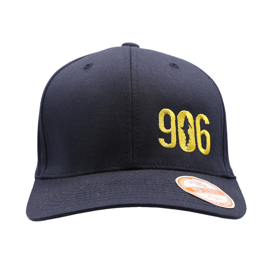 "Hat - ""906"" Maize on Dark Navy FlexFit Structured Cap"