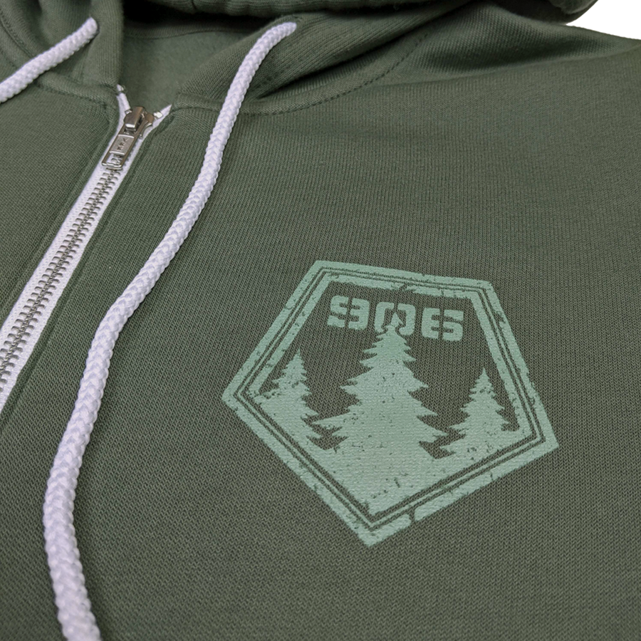 """906 Pines"" Military Green Zip-UP Hoodie"
