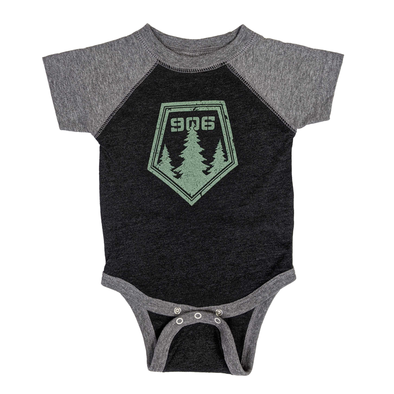 "INFANT - ""906 Pines"" Vintage Smoke/Granite Heather Raglan Onesie"