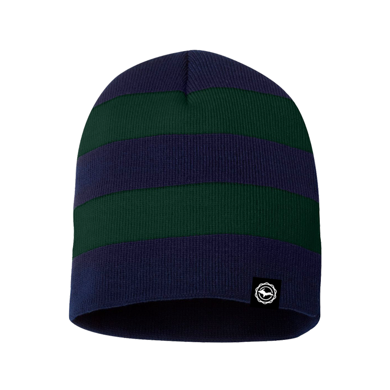"Beanie - ""U.P. Seal"" Navy/Forest Rugby Striped Beanie"