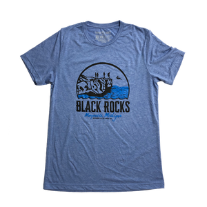 """Black Rocks"" Blue Triblend T-Shirt"